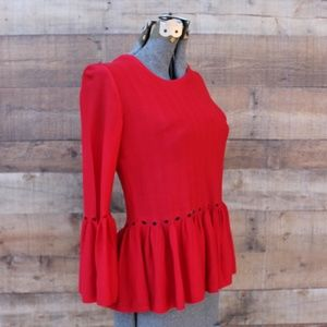 NEW Guest Editor Anthro Red Top Small Bell Slv